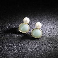 Earrings Nails Golden Small Square Pattern Jade Green Pearl Retro DD13