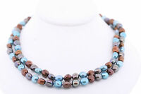 HONORA 36in Genuine Cultured Freshwater 8-9mm Blue Copper Dyed Pearl Necklace
