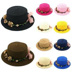 Women Boater Hat Straw Hats Summer Beach Sun Caps Wedding Flower Garland Band