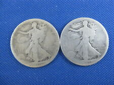 2 Pc U.S. Silver Walking Liberty Half Dollar Lot 1917 S Obv 1917 Obv
