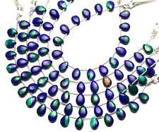 "Natural Gem Azurite Malachite 10x7MM Size Smooth Pear Shape Beads 7"" Strand 42Ct"