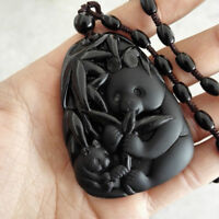 Black Obsidian Bamboo Panda Pendant Necklace Amulet Sweater Natural Handmade