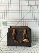 NWT Michael Kors Camille Small Satchel Brown Signature PVC Leather Purse