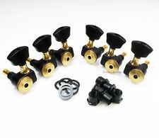 Sperzel 3x3 Trimlok 3 Per Side Locking Guitar Tuners Tuning Pegs - BLACK & GOLD