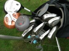 Golf clubs, full set, Taylormade steel shafts, Callaway Driver, and trolley.