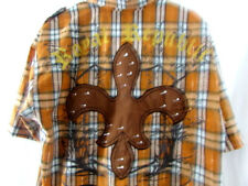 Royal Republic Mens Button Down Shirt Dragon Design Large Orange Brown