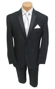 New Men's Joseph Abboud Black Tuxedo with Flat Front Pants Wedding 48XL 41W