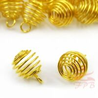 Spiral Bead Cage Charms 13mm Gold Plated Pendants GC0004015 - 10/20/40PCs