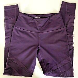 Victoria's Secret Sport Knockout Tight Leggings Women Size XS Purple with Mesh