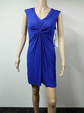 NEW - FAST to AUS - Calvin Klein Dress Size 10P Lapis Knot Bodice V Neck - Blue
