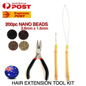 Hair Extension Tool Kit NANO Bead Ring 200pc Silicone Lined 3.6mm x1.6mm HairKit