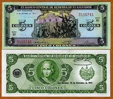 El Salvador, 5 Colones, 1977, P-126, UNC > Columbus, Pre-USD$