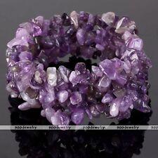 Amethyst Gemstone Freeform Chip Beads Bracelet Stretchy Band Bangle Gift #BE