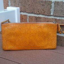 Monsac Leather Orange Floral Clutch Shoulder Bag Handbag
