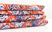 2.5 Yard Floral Fabric Hand Block Printed Cotton Indian Dressmaking Craft Fabric