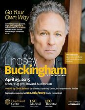 LINDSEY BUCKINGHAM 2015 LOS ANGELES CONCERT TOUR POSTER-Rock Music,Fleetwood Mac