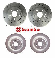 Fits Mercedes C250 C300 Front Vented Drilled & Rear Solid Disc Brake Rotors Kit