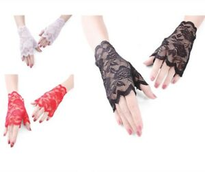 3 Colors Pack Gloves Formal Lady Bridal Floral Lace Sexy Dress Mittens Party