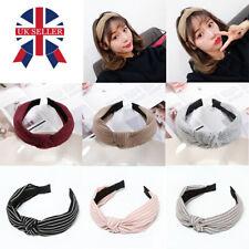 Women Soft Headband Alice Band Top Knot Fashion plain Headband Twist Hairband A