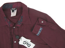 NEW Dolce & Gabbana Ruffled Shirt! e 52 Large *Maroon* *Slim Fit*  *Lightweight*