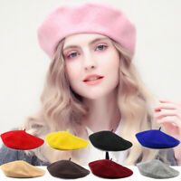 Women Plain Beret Hat Soft Wool Vintage French Winter Autumn Girls Ladies Cap