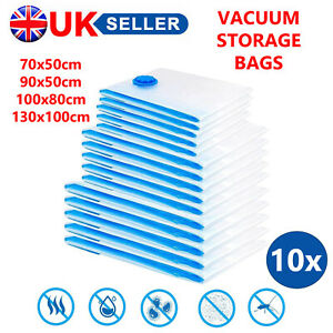 10 X LARGE SPACE SAVING STORAGE VACUUM BAGS CLOTHES BEDDING ORGANISER UNDER BED