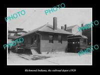 OLD LARGE HISTORIC PHOTO OF RICHMOND INDIANA, RAILROAD DEPOT STATION c1920