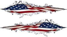 """Ripped Torn Metal Style Decals American Flag 18"""" REFLECTIVE RIP01"""