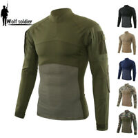 ESDY Mens Army Military T-shirt Combat Tactical Casual Pullover Shirt Camouflage