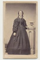 1865 CDV Photo Lady Full Standing Dress Civil War Tax Revenue Stamp Baltimore 57