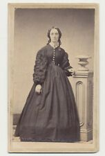 1865 CDV PHOTO FULL STANDING LADY DRESS CIVIL WAR TAX REVENUE STAMP BALTIMORE 57