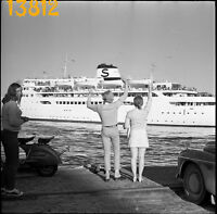 vintage negative! young couple wawing, ferry, ship, mini skirt 1960's  Sweden
