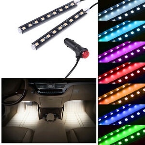 White LED Car Interior Accessories Floor Decora Atmosphere Strip Lamp Lights 2x