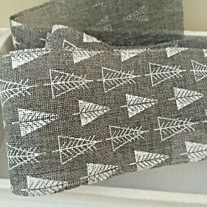 White Christmas Tree Wired Grey Ribbon For Bows,Wreaths,Card Making,1Mtr,10 cm