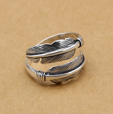 Solid Sterling Sliver Wide Wrap Feather Open Band Angel Wing Leaf Silver Ring I