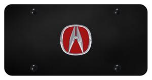 Acura Emblem Black License Plate (3D Red Chrome Premium Licensed Vanity Design)