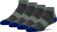FUN TOES Lightweight Merino Wool All Season Low Cut Hiking Socks Design- 4 Pairs