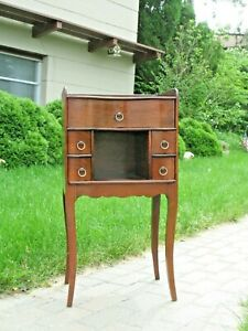 Antique 1920 Mahogany Wood Telephone End Table  Don Rose Gallery French Art Deco