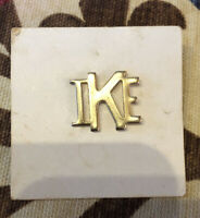 Vintage IKE Eisenhower Gold-Tone Presidential Campaign Lapel Pin / Tie Tack