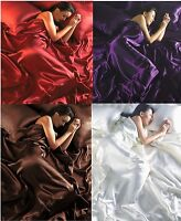 6 Pieces Luxury Satin Bedding Set Double Duvet Cover Fitted Sheet & 4 Pillowcase