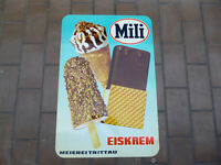 Mili EISKREM MEIEREI TRITTAU Original altes Blechschild  1960er Jahre