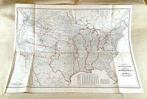 1916 Antico Ferrovia Mappa Americana Trans Continental Railway Sistema Network