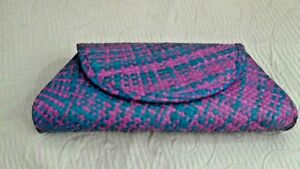 """Pink Blue Straw Clutch Bag 11""""x 5""""  2' thick Lined In Black By Hype Light Weight"""