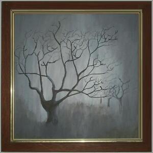 Inverno malinconico paesaggio invernale alberi solitari olio tela cornice 40x40