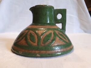 Art Deco French Green and cream jug