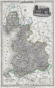 "Pigot Map - 1825 - ""LANCASHIRE"" - Hand Colored Copper Engraving"