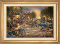 Thomas Kinkade Studios Amsterdam Cafe 12 x 18 LE G/P Framed Canvas