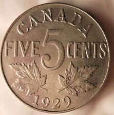 1929 CANADA 5 CENTS - Quality Scarce Coin - FREE SHIP WORLDWIDE  - Canada Bin #2