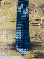 """Van Heusen Men's Tie Necktie Black Blue Green Geometric Squares 60"""" x 3 1/2"""""""