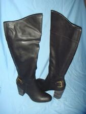 Women's Cato Black Block Heel Knee Boots  Size-11  New